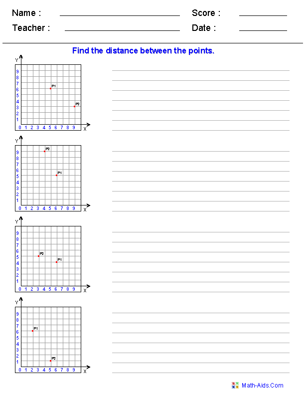 Distance Formula Worksheet generator. Use in GO THE DISTANCE unit ...