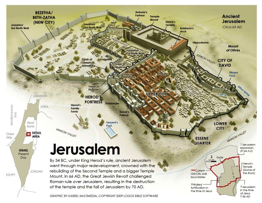 Kuvahaun tulos haulle jerusalem map time of Jesus
