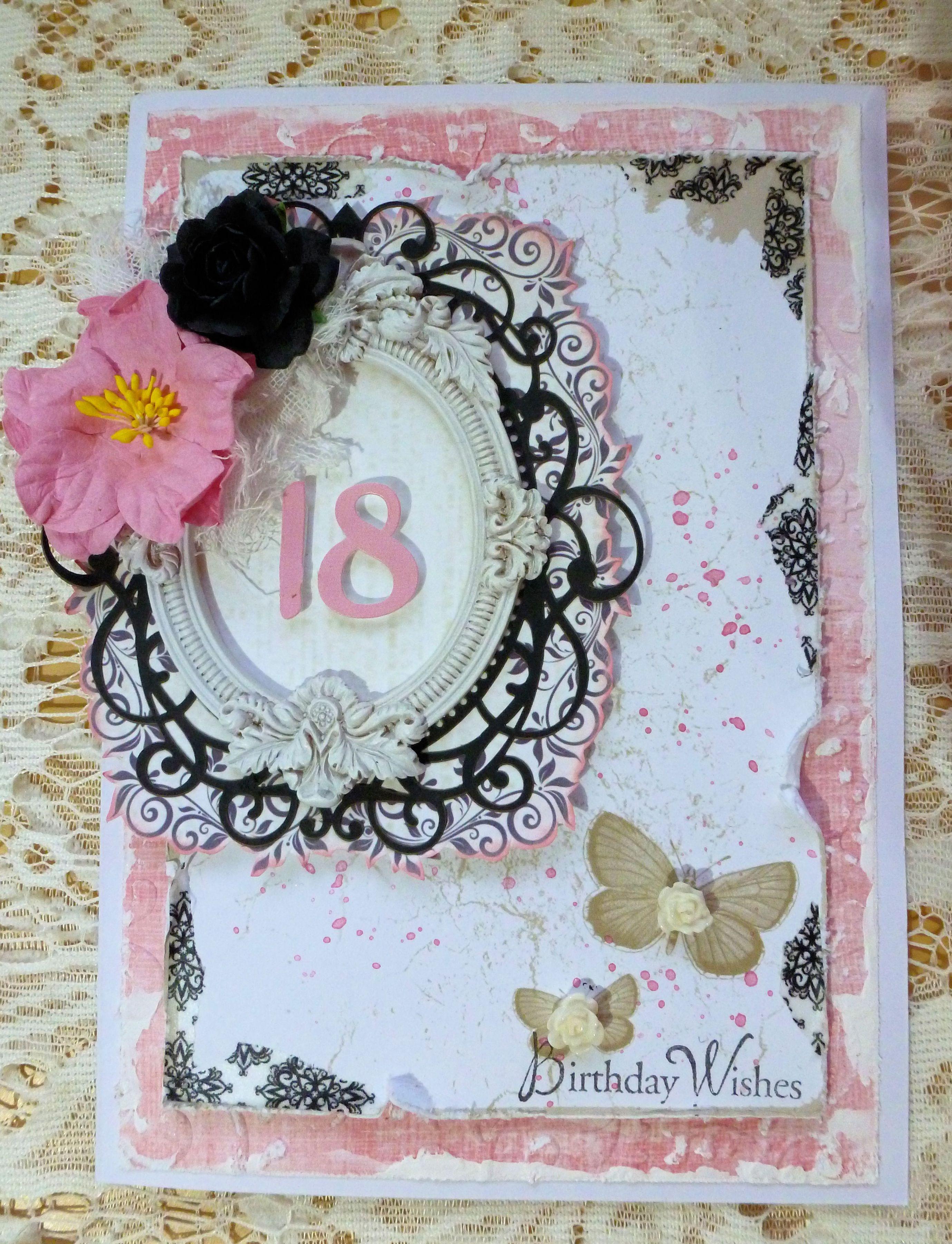 Shabby Chic 18th Birthday Card 18th Birthday Cards Scrapbook Birthday Cards Birthday Card Craft
