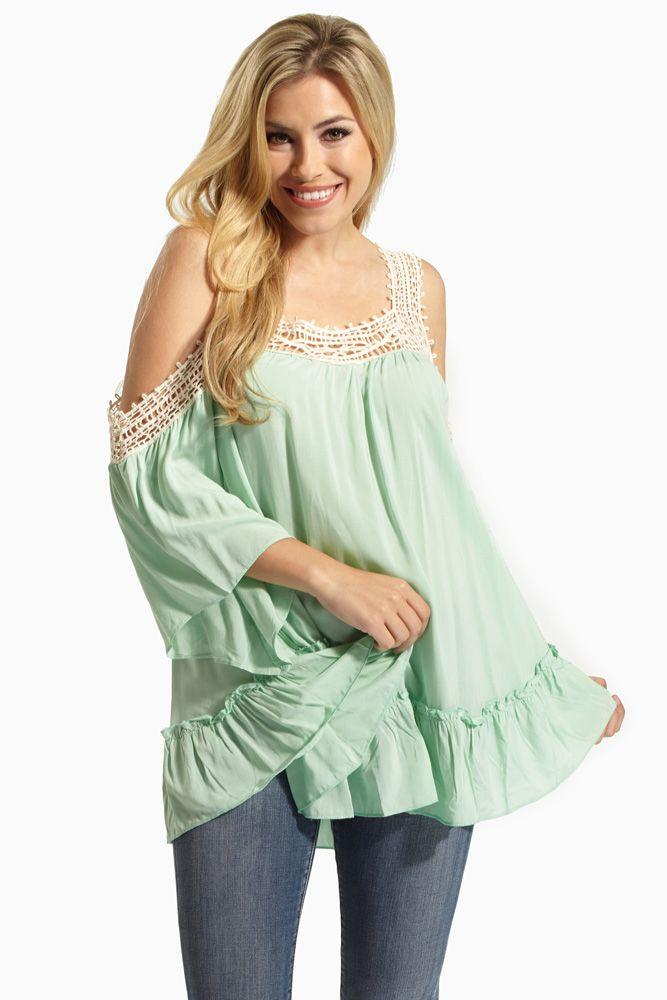 8b79c8ef25abd Mint Crochet Accent Open Shoulder Maternity Blouse