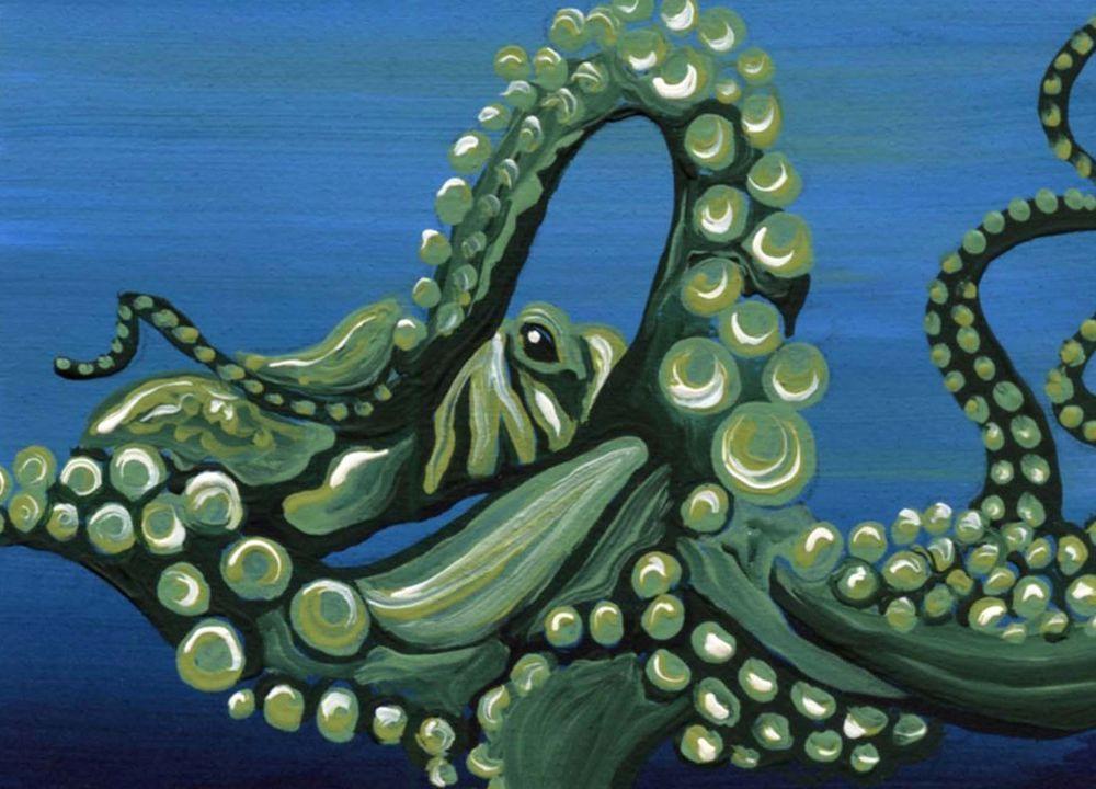 ACEO ATC Green Octopus Marine Fish Art Original Painting-Carla Smale #Realism