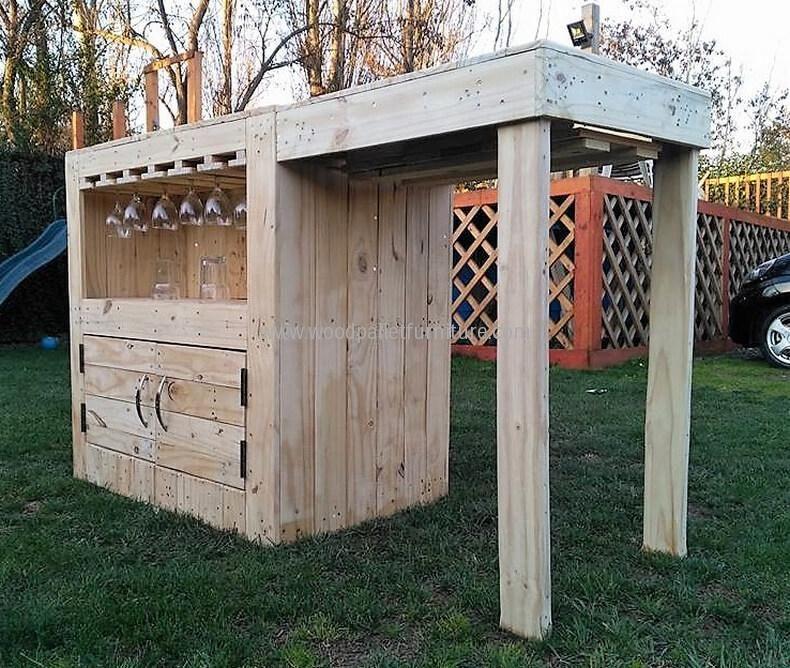 diy wood pallets garden bar table 14