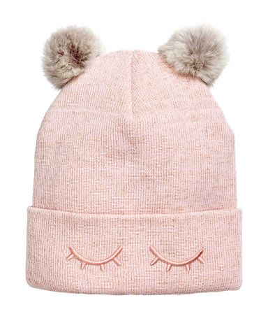 654e6166 Light pink. Hat in a soft, fine knit with glittery threads. Faux fur  pompoms at top and embroidery at cuff.