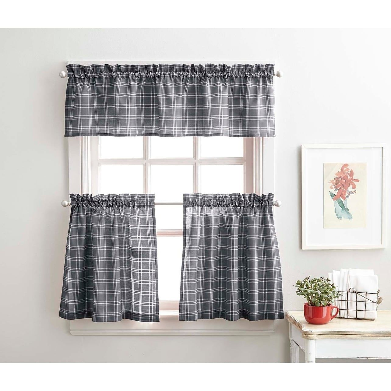 Lodge Plaid 3 Piece Kitchen Curtain Tier And Valance Set 36 3pc Set Grey Gray Polyester Blend In 2019 Grey Kitchen Curtains Kitchen Curtains Curtains