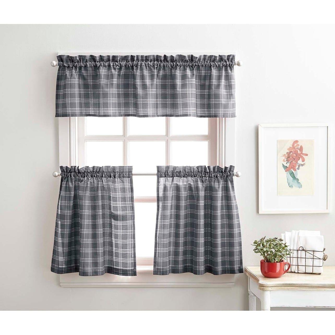 Lodge Plaid 3 Piece Kitchen Curtain Tier And Valance Set 36 3pc