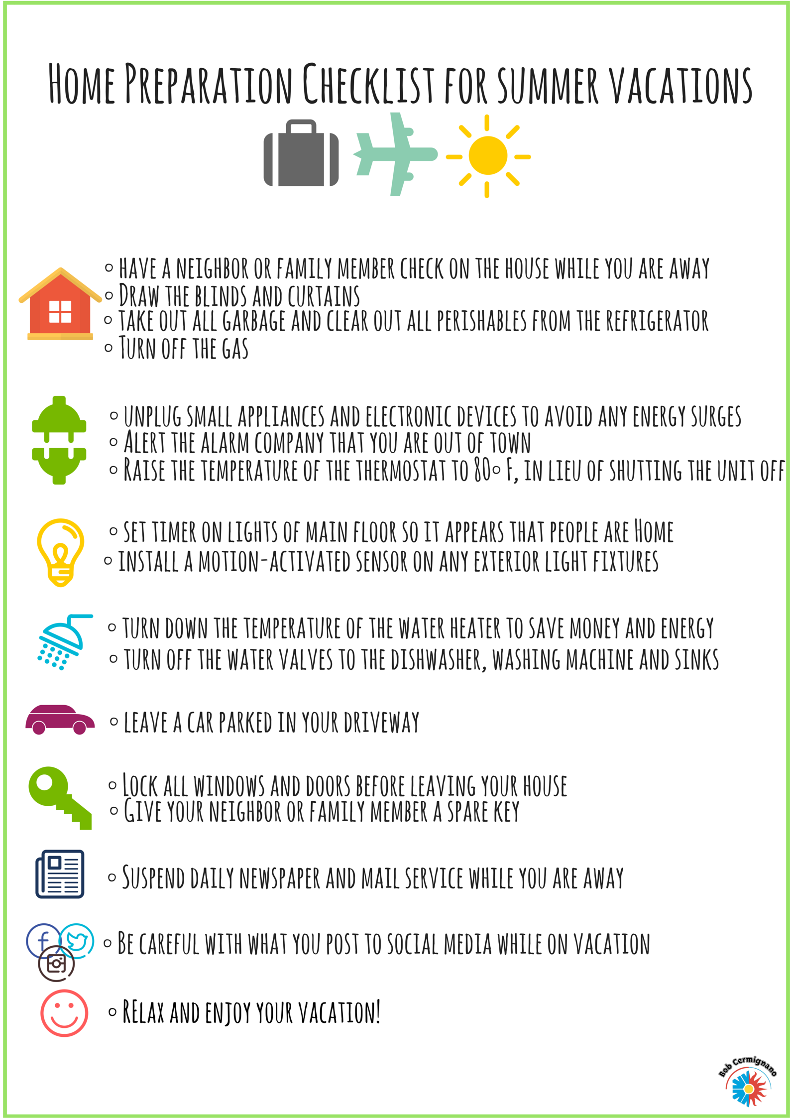 Home Preparation Checklist For Summer Vacations Home Maintenance