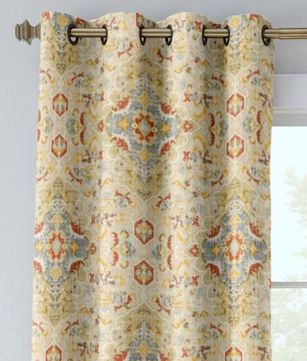 Antiqued Watercolor Lined Grommet Top Curtains - Country Curtains®