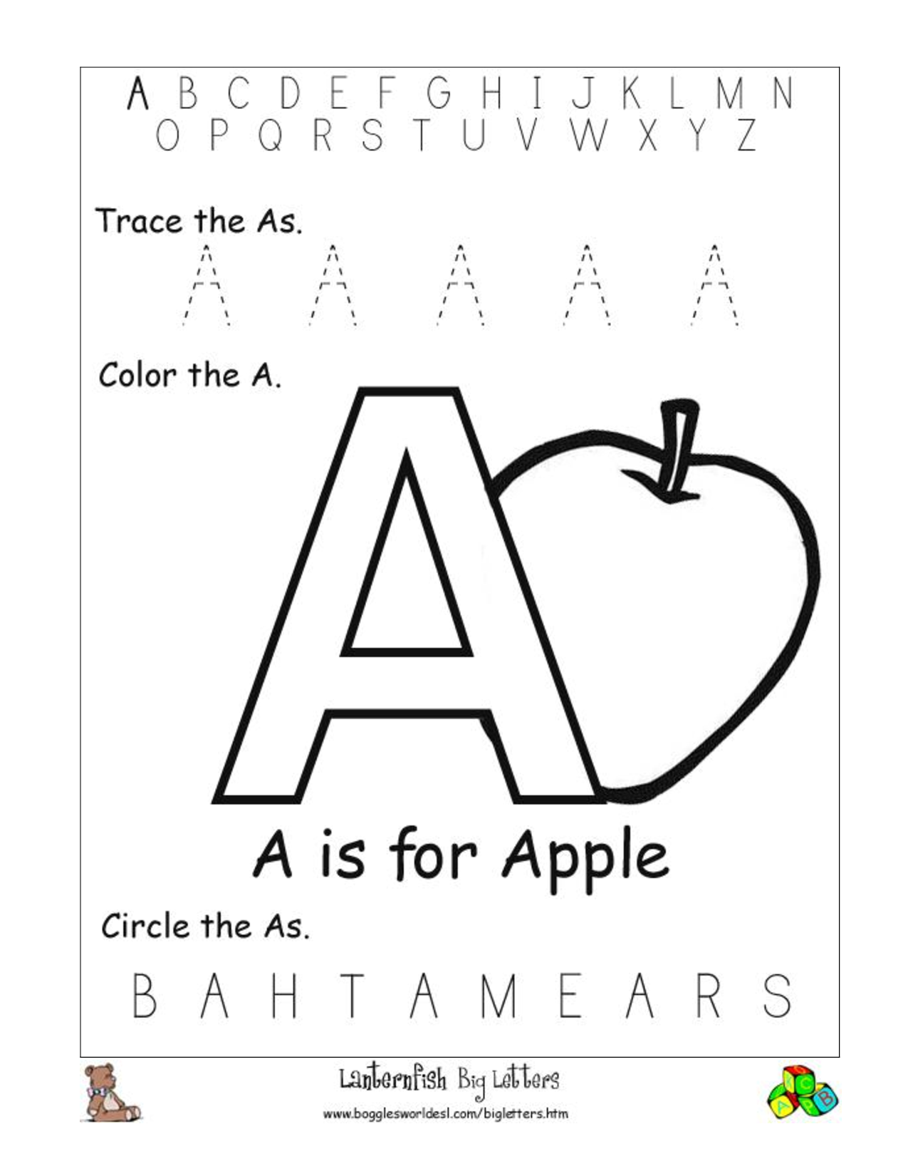 Letter Recognition Worksheets Alphabet Worksheet Big Letter A