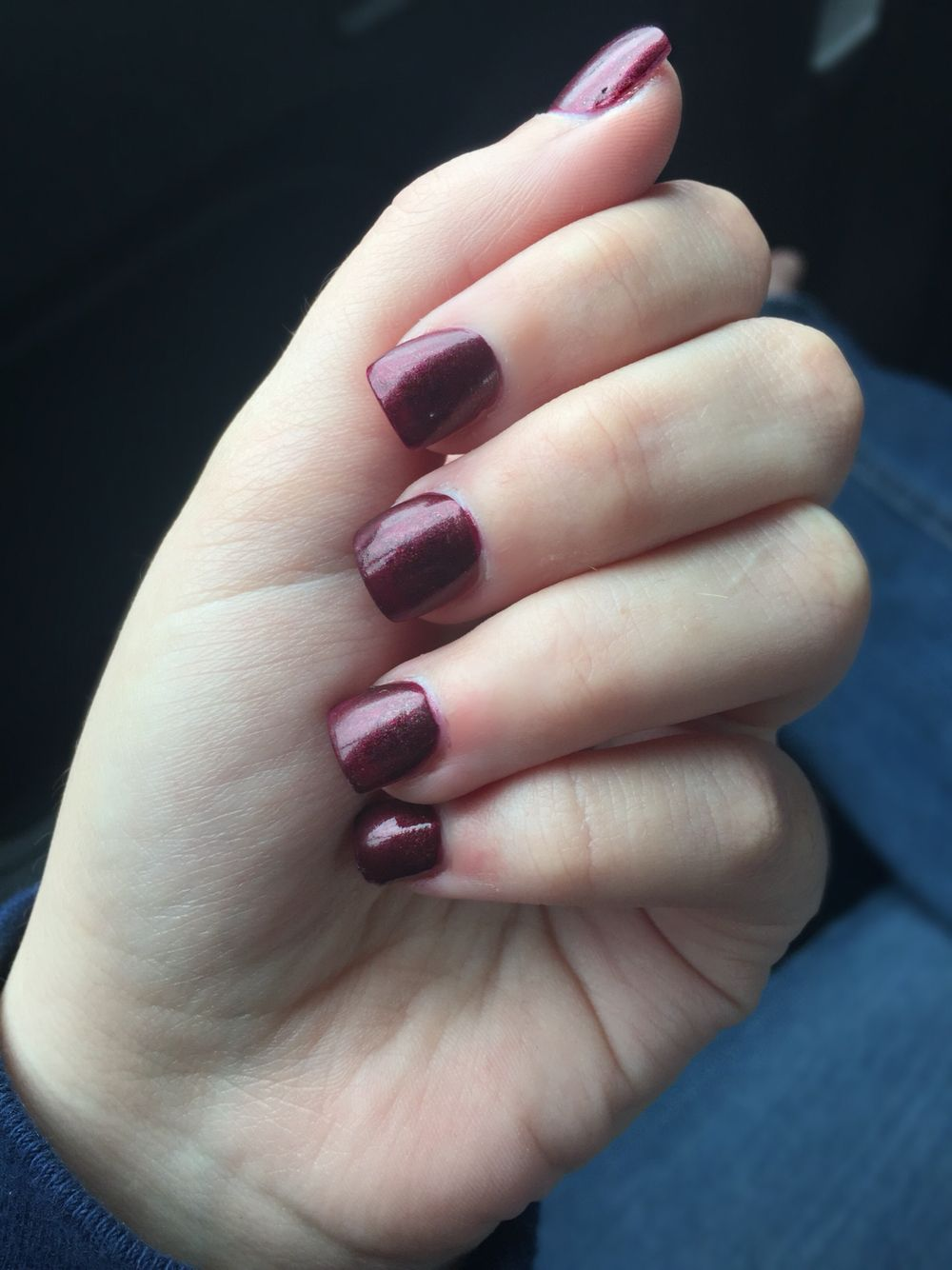 Fall acrylic nails short nails dark red nails autumn nails winter ...