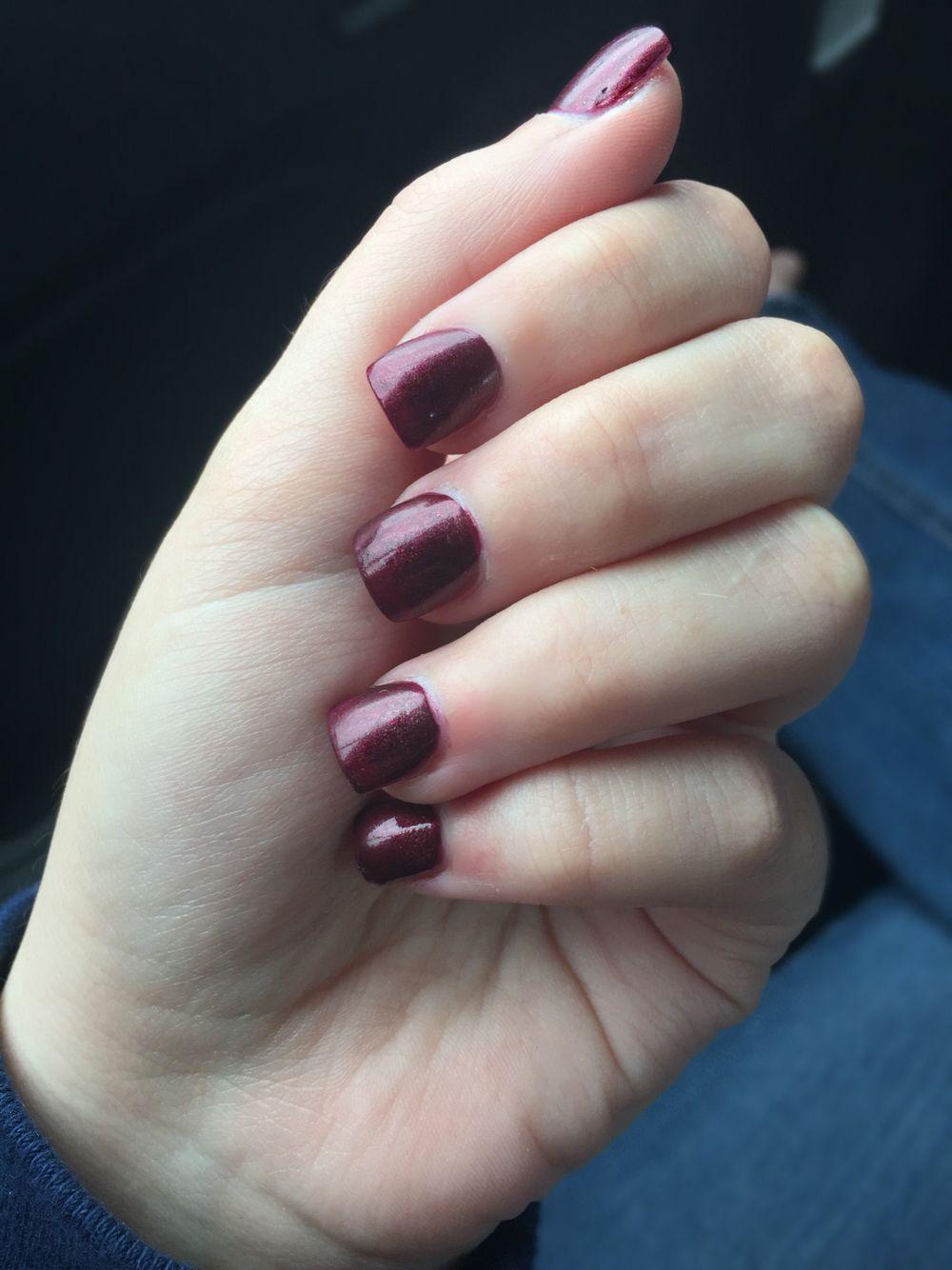 Fall acrylic nails short nails dark red nails autumn nails winter ...