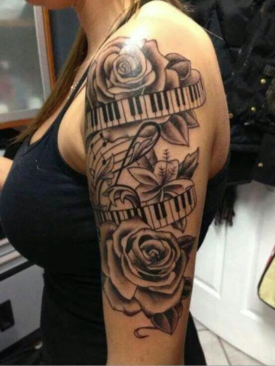 Beautiful Flowers With Piano Ribbon And Music Notes Inspiration