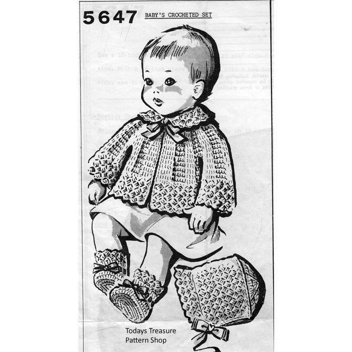 Crochet Shell Baby Set Pattern No 5647 | Todays Treasure Pattern ...