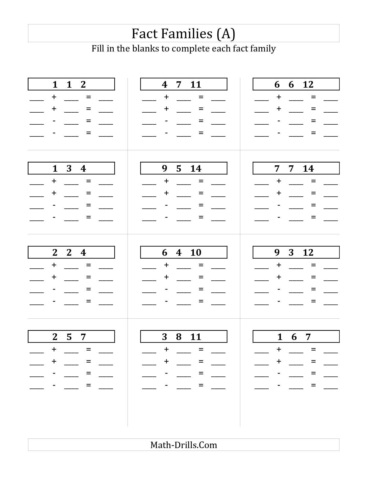 Uncategorized Fill In The Blanks Maths Worksheets the addition and subtraction relationships with sums to 18 all blank a math
