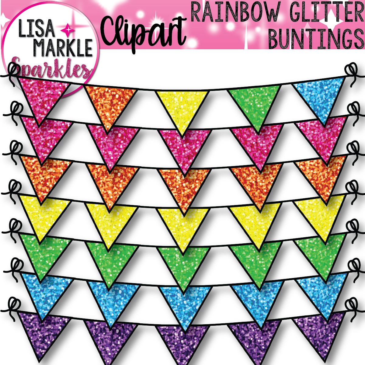 Bunting Clipart With Glitter