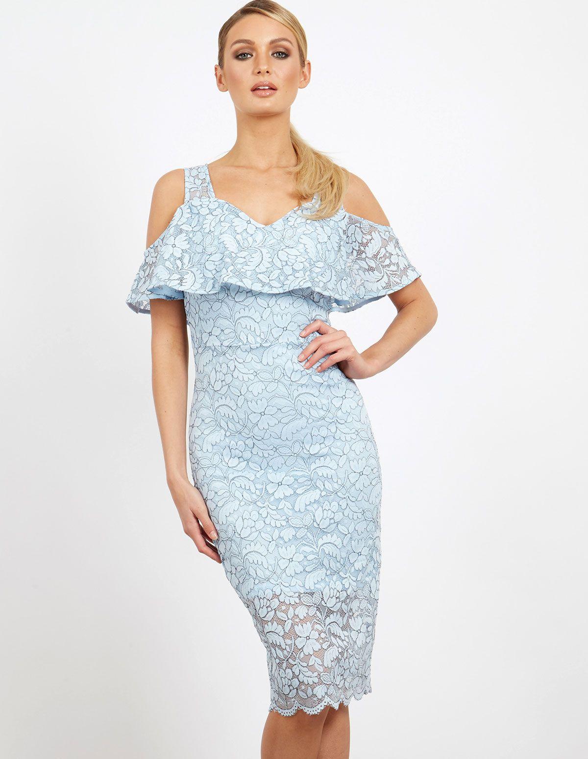 Westley u frill lace cold shoulder dress blue wedding reception