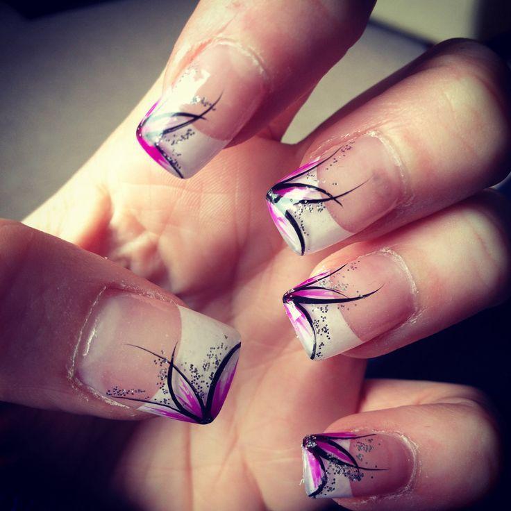 nail art original french, diseño de uñas francesa flores rosas ...