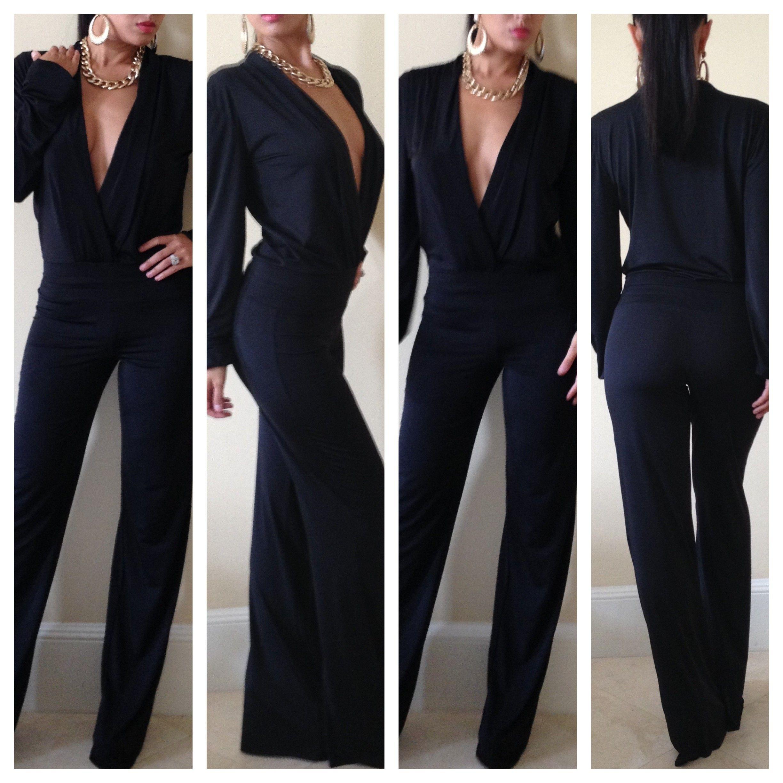 Black Drape Pant Jumpsuit - Outfits