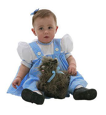 Baby Dorothy costume #Halloween #WizardofOz  Does Ruby have to be Dorothy for her first halloween?  Dorothy got her ruby slippers second hand.  I'm thinking of making her the wicked witch of the East, but cute
