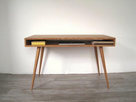 Mid Century Modern Style Tapered Legs Mid Century Modern Desk Mid Century Desk Mid Century Modern Furniture