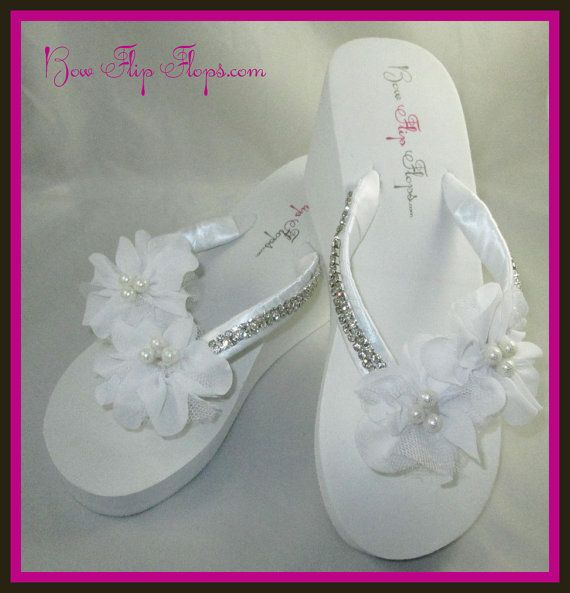 79a630bc2 Bridal Flip Flops Wedding Flip Flops Bridal Flip Flops Flower Ivory Wedge  Platform Heel Satin White Bride Pearl Rhinestone Ribbon bridesmaid