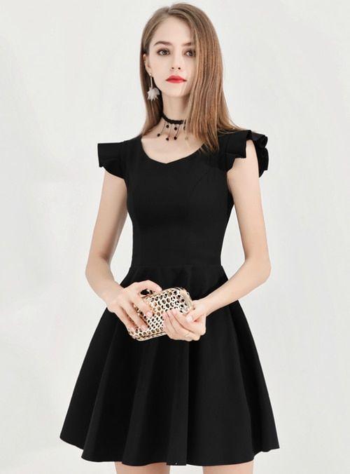 a93eb8f1a Silhouette a-line Hemline mini Neckline v-neck Fabric satin Shown  Color black Sleeve Style sleeveless Back Style zipper up Embellishment bow   promdress ...