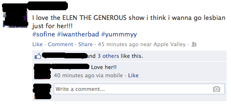 That moment when you realize you've been spelling Ellen Degeneres' name wrong all these years.....