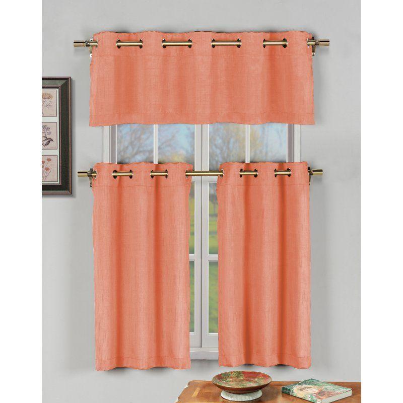 Duck River Agnes Faux Silk 3 Piece Grommet Kitchen Curtain Set ...