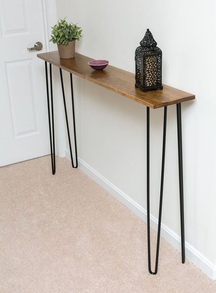 Leftover Piece Of Pine Becomes A Console Table Diy Console Table Modern Console Tables Narrow Console Table