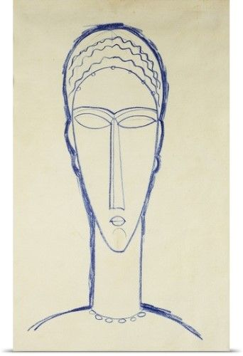 Amedeo Modigliani Poster Print Wall Art Print Entitled Study Of A Head For A Sculpture Etude De Tete Pour Une Sculp Modigliani Amedeo Modigliani Sculpture Art