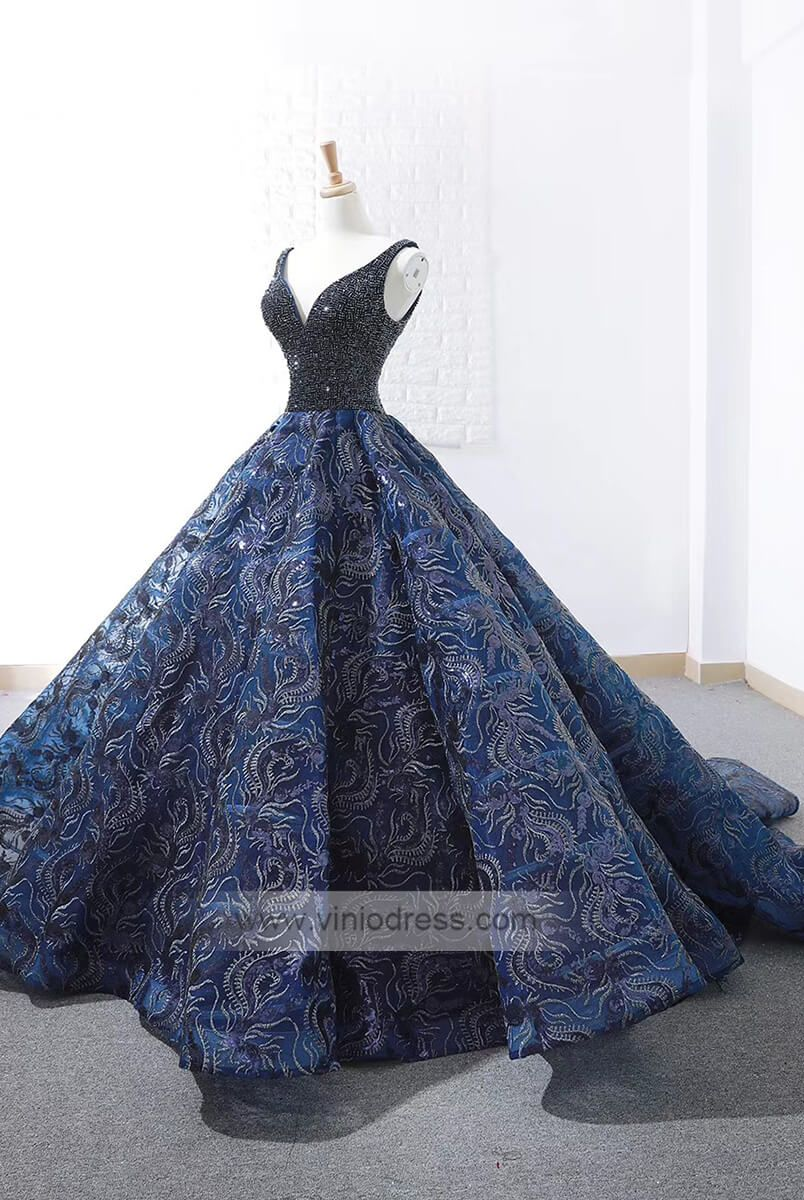 e9ad0067d1b Long blue gorgeous v neck prom dress with beading top and embroidered  skirt.  promdresses  ballgowns  promdresseslong  ballgowndress   promdresseslace  prom ...