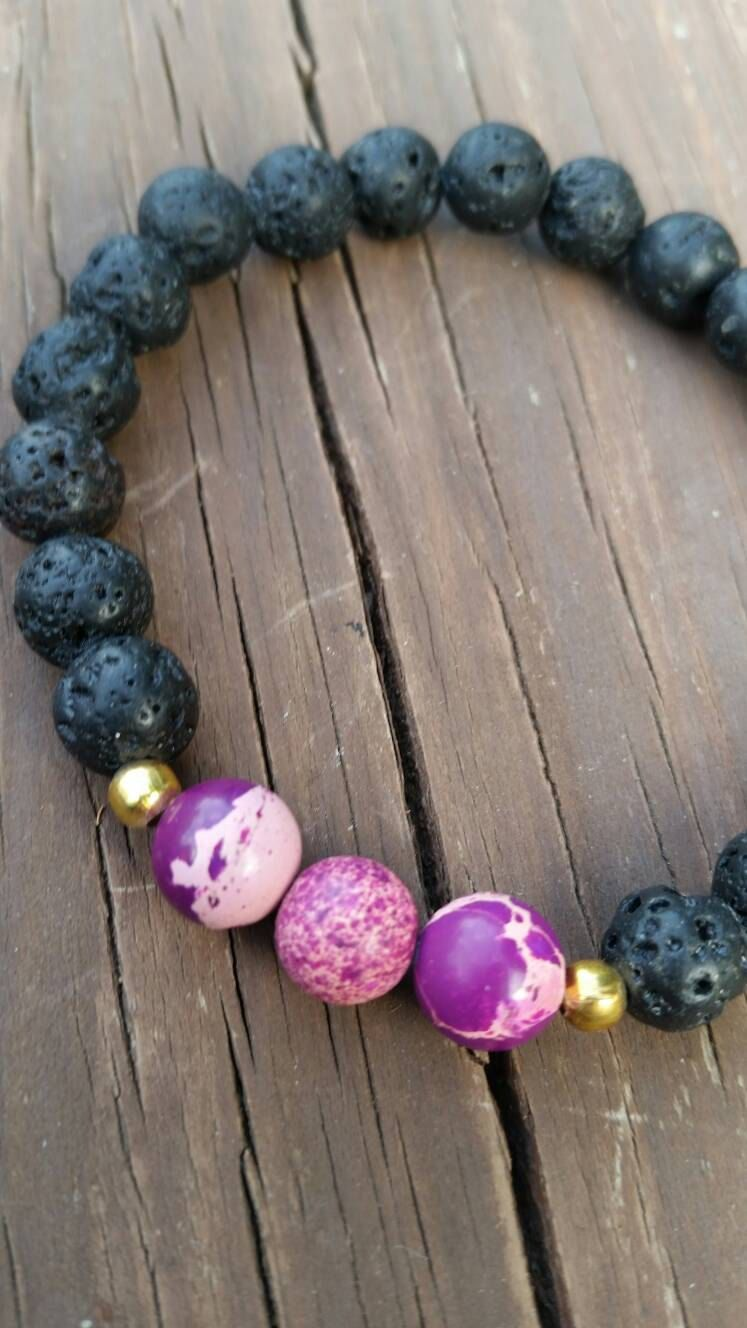 Purple Lava Stone Diffuser Bracelet by LilithMoonApothecary on Etsy
