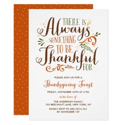 Be Thankful Whimsical Thanksgiving Invitation