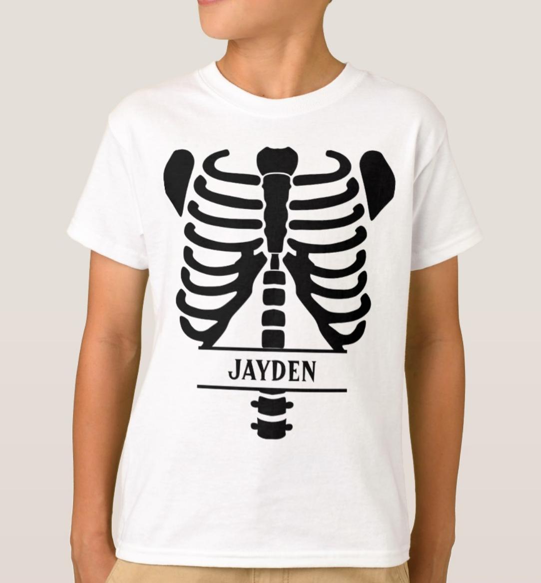 Skeleton Ribs Monogrammed T-Shirt | Zazzle.com | Monogram ...