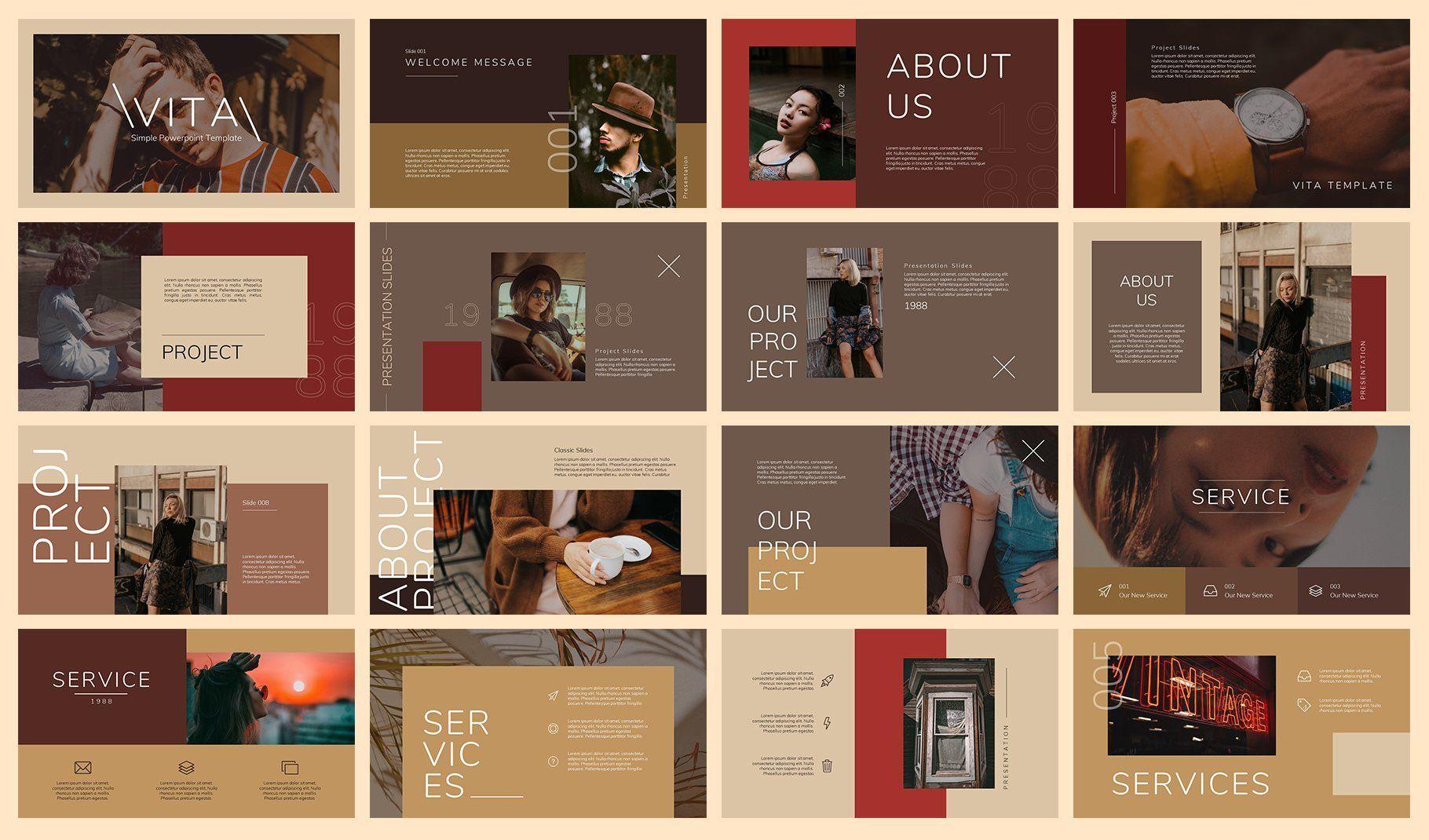 Vita Vintage Google Slides By Semesta Studio Presentations Design In 2020 Simple Business Cards Powerpoint Slide Design