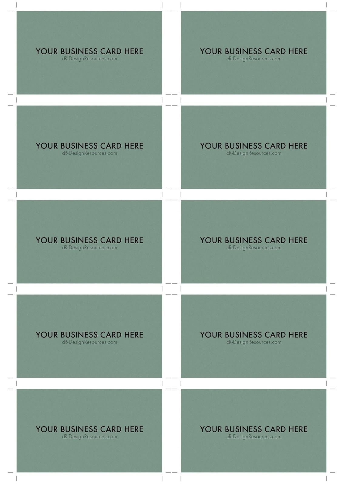 A4 Business Card Template Psd 10 Per Sheet In 2020 Business