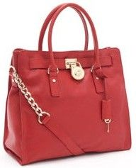 Michael Kors Hamilton Medium Leather Satchel Red