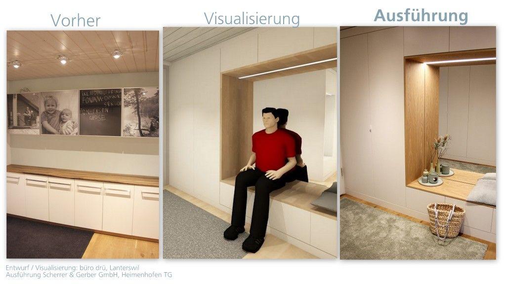 Einbaum bel garderobe modern weisse grifflose fronten for Garderobe modern mit sitzbank