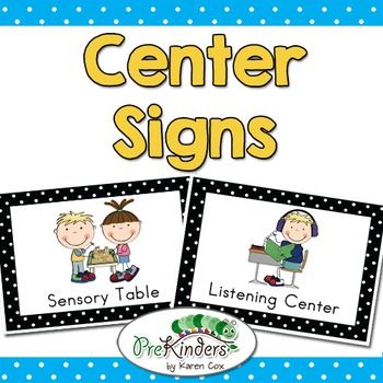 Early Childhood Classroom Center Signs