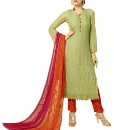 13f68635f3 Buy Olive green embroidered chiffon and nazneen unstitched salwar with dupatta  dress-material online