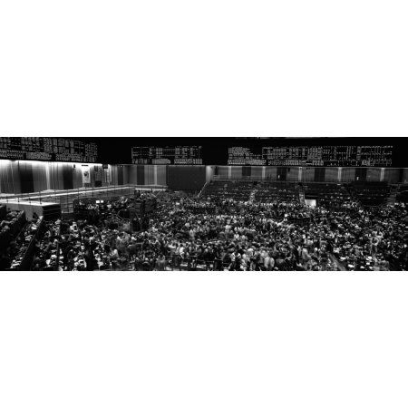 Grayscale panoramic view of Chicago Mercantile Exchange Canvas Art - Panoramic Images (27 x 9)