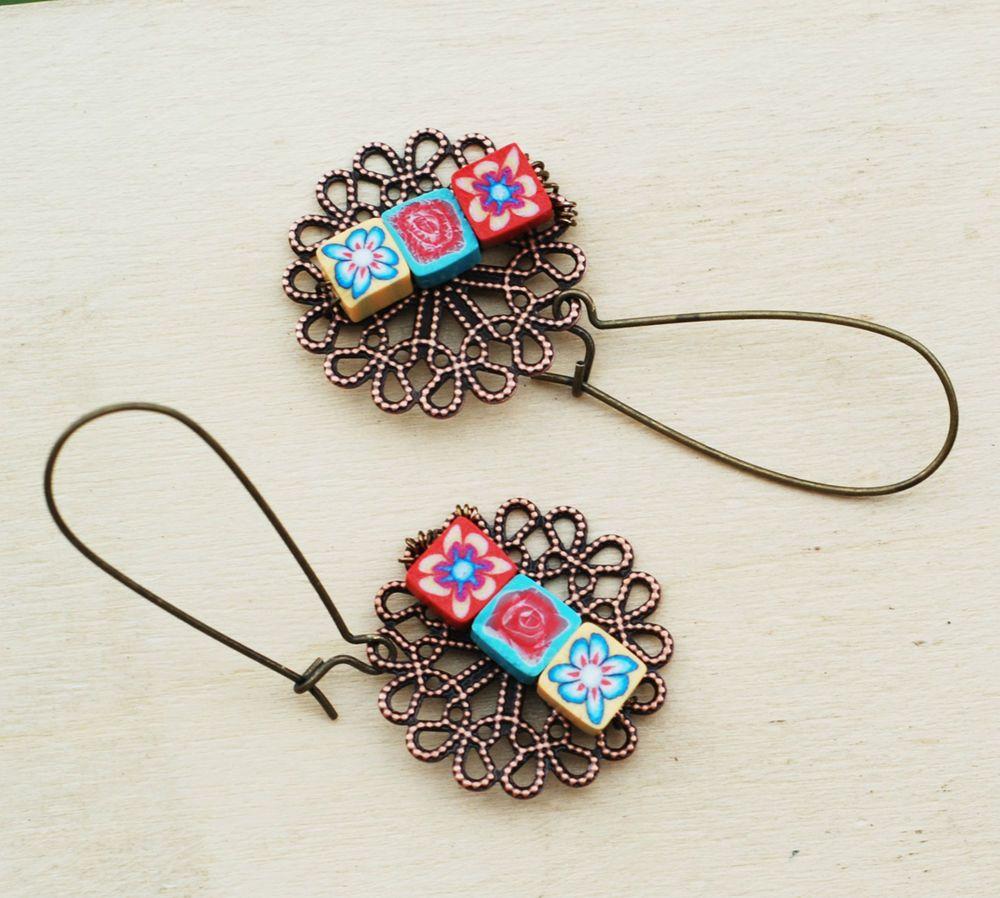 Cute Little Tiny Polymer Flower Cube Antique Copper Earrings Jeanninehandmade #Jeanninehandmade #Wrap