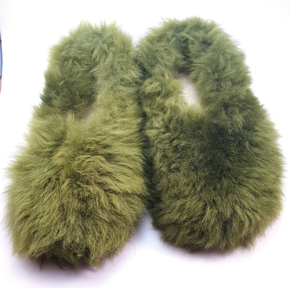 4c2e97973177c Vtg 70s Ugly Green Shag Fuzzy House Shoes Sz 8.5 Lined Firm Soles 1 ...