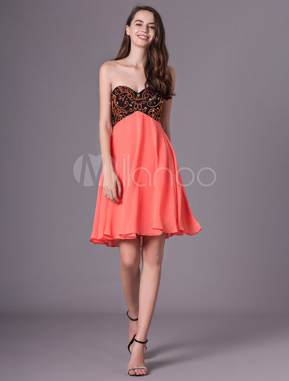 Cocktail party dresses orange red short strapless beaded prom dress