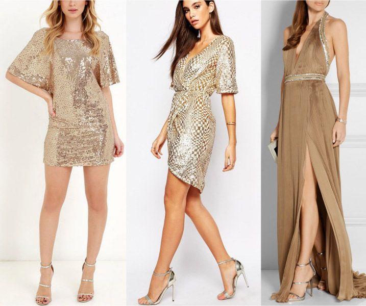 Gold dress short, Silver dress