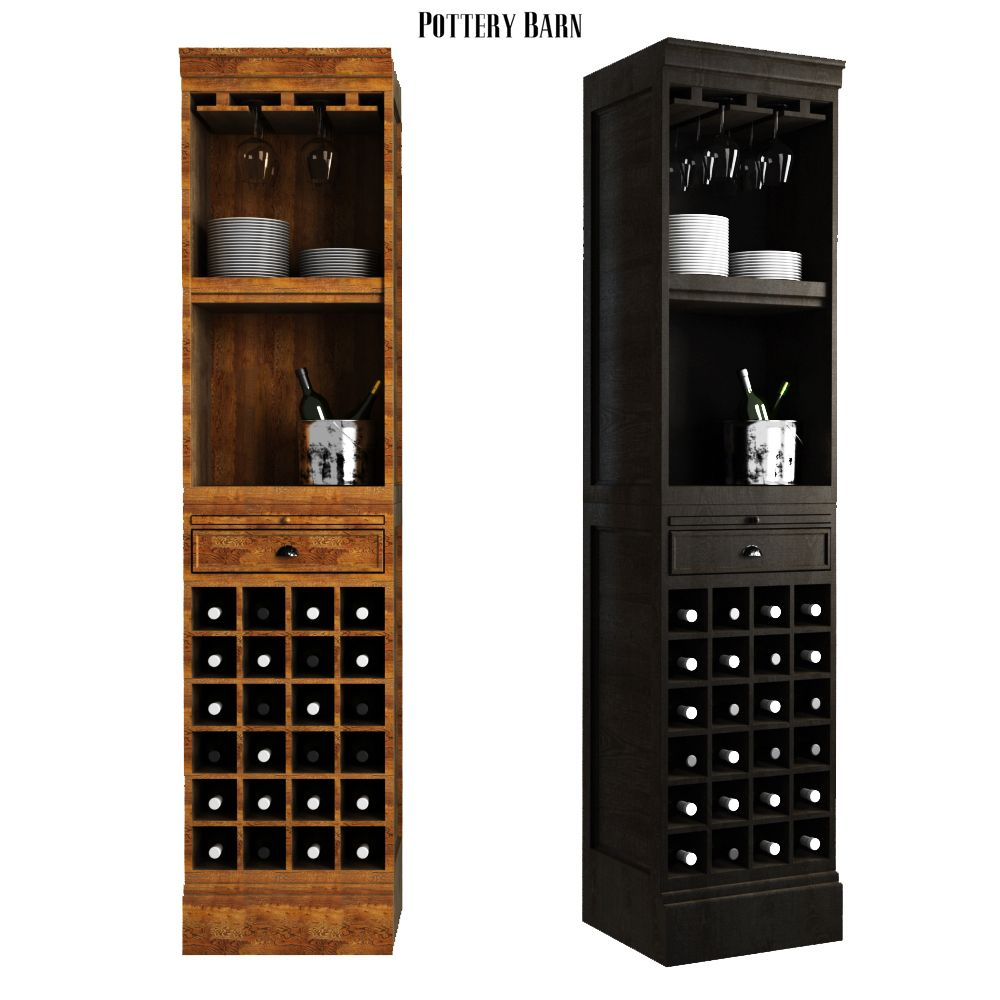Pottery Barn Modular Bar With Wine Grid Tower Tall Cabinet Storage Pottery