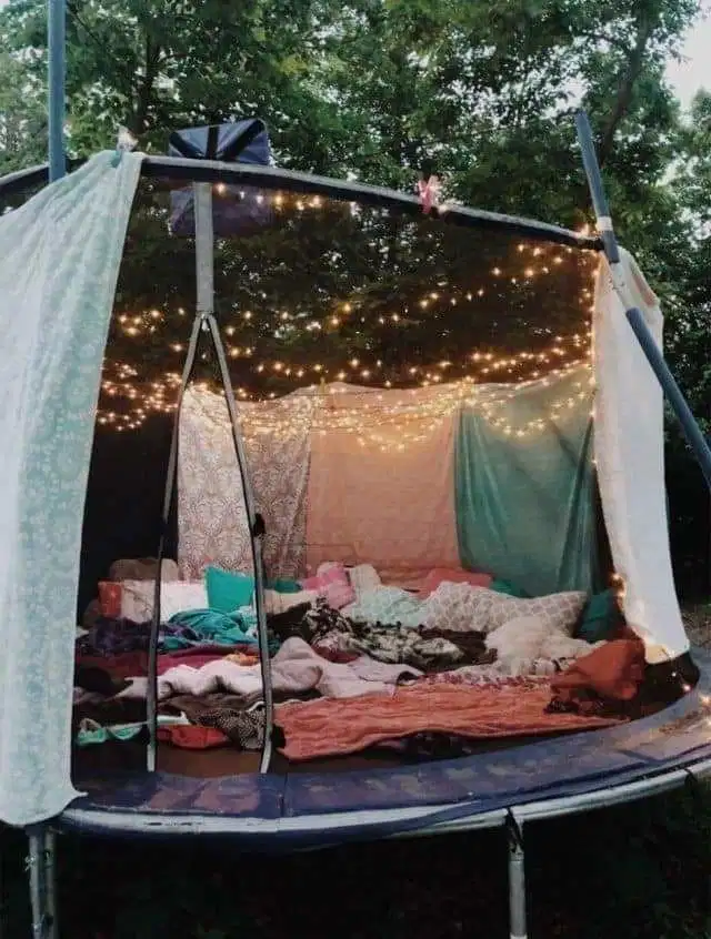 Parents transform old trampolines into comfy summer dens - and they look amazing