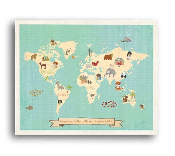 30 off and free shipping global compassion by childreninspire global compassion childrens world map wall on gallery wrapped canvas the whimsical and modern global map depicts animals and children from around gumiabroncs Image collections