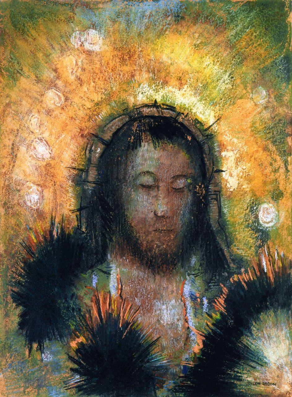 Odilon Redon ~ Christ's Head, c.1895