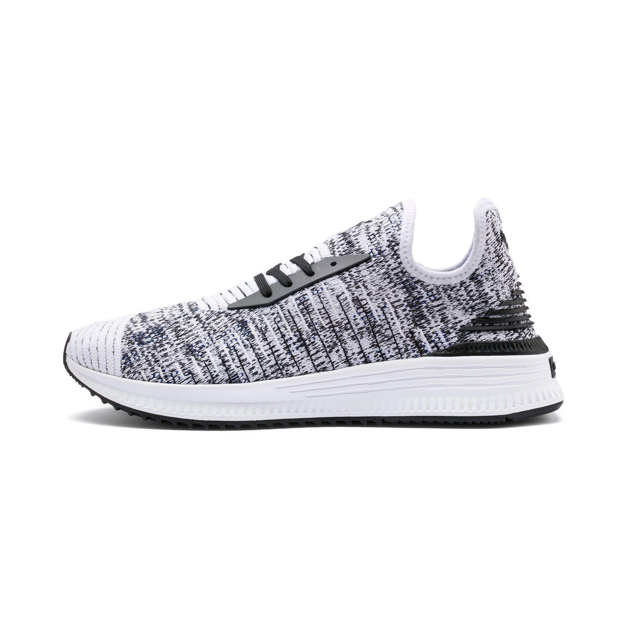 PUMA Avid EvoKnit Mosaic Evolution Trainers in White/Black/Sodalite Blue size 3.5 #whiteembroidery