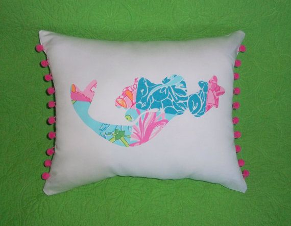 New Custom Mermaid Pillow Made With Lilly Pulitzer Palm
